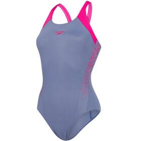 speedo Boom Splice Traje de baño Muscleback Mujer, vita grey/electric pink